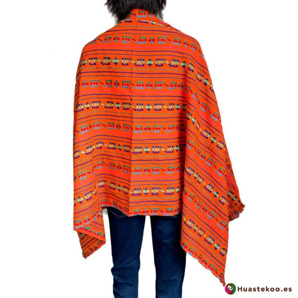 Rebozo o fular mexicano color naranja a la venta en la tienda de ropa mexicana online Huastekoo España - H00006 - 2