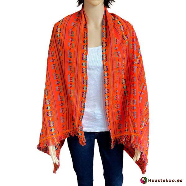 Rebozo o fular mexicano color naranja a la venta en la tienda de ropa mexicana online Huastekoo España - H00006 - 3