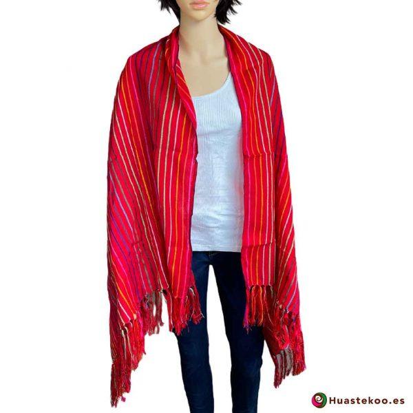 Rebozo (Fular) Mexicano Rojo H00010 - Tienda de Ropa Mexicana Huastekoo España - 3