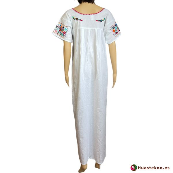 Precioso Vestido Mexicano Tehuacán largo bordado a mano H00788 a la venta en la tienda de ropa mexicana online Huastekoo España - 2
