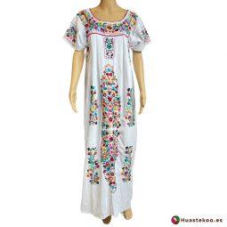 Precioso Vestido Mexicano Tehuacán largo bordado a mano H00788 a la venta en la tienda de ropa mexicana online Huastekoo España