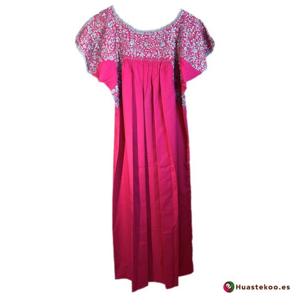 Vestido San Antonino color rosa mexicano - Tienda online de ropa mexicana Huastekoo España - H00724 - 2