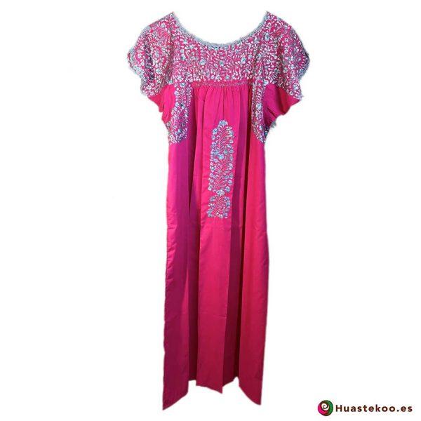 Vestido San Antonino color rosa mexicano - Tienda online de ropa mexicana Huastekoo España - H00724