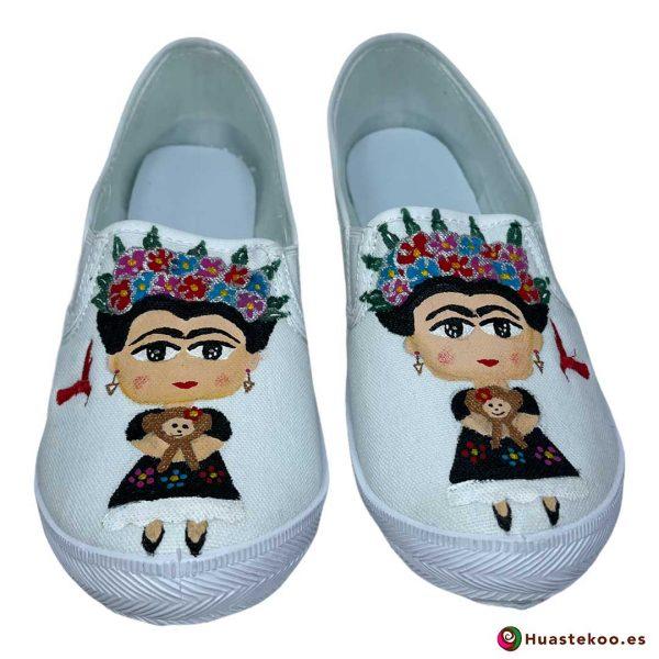 Zapatos mexicanos pintados a mano modelo Frida de la tienda mexicana online Huastekoo España - H00014